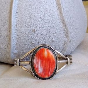 Native American Spiny oyster Sterling silver cuff